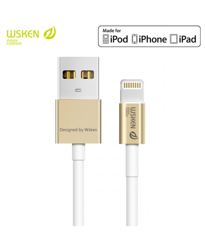 WSKEN Apple MFI Certified Metal Lightning Cable - Gold