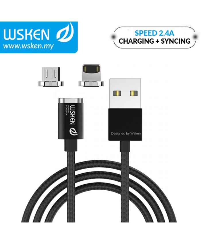 WSKEN Micro USB / Lightning 2.4A Mini2 Magnetic X-Cable - Black