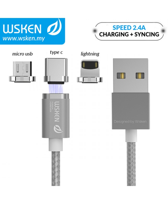 WSKEN Micro USB / Lightning / Type C 2.4A Mini2 Magnetic X-Cable