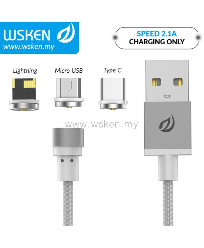 WSKEN Micro USB / Lightning / Type C 2 1A Round Magnetic X-Cable